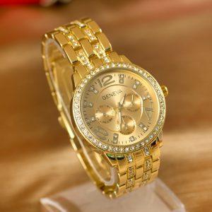 Đồng hồ nam Geneva Arrival nạm kim cương dây kim loại
