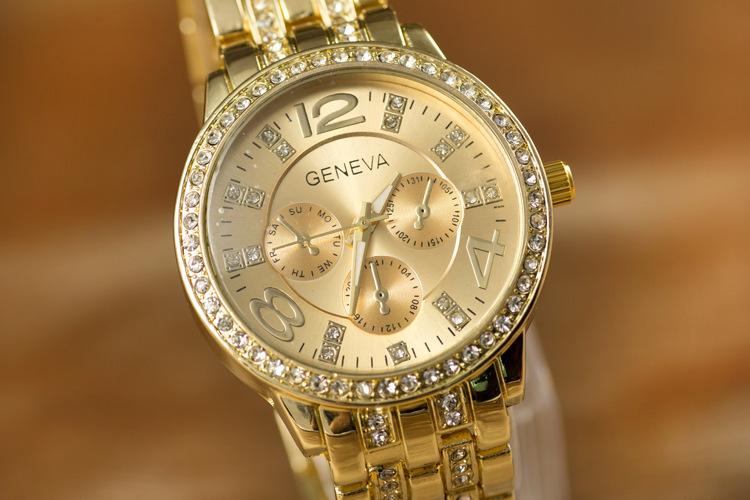 Đồng hồ nam dây thép nạm kim cương Geneva New Arrival