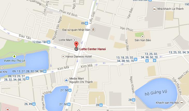 Bản đồ Đại sứ quán Hàn Quốc tại Việt Nam