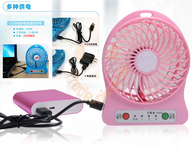 Quạt sạc, tích điện mini 3 chế độ gió tích hợp đèn