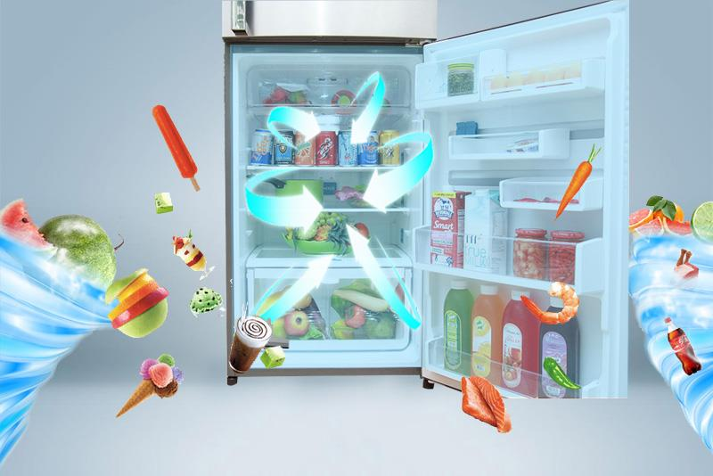 Công nghệ làm mát đa chiều tác dụng lên mọi ngóc ngách trong tủ
