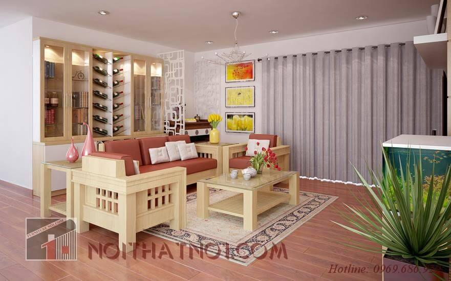 Đa dạng gỗ tự nhiên cho bàn ghế phòng khách chung cư